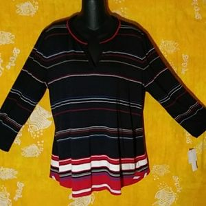 NWT L,iz Claiborne  XL. long sleeve, striped shirt